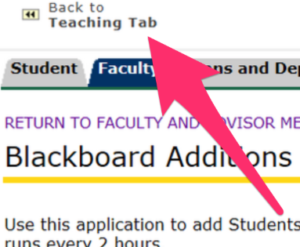 Arrow pointing to back to teaching tab link.