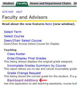 Location of Blackboard Additions link on teaching tab.