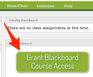 Arrow showing location of grant Blackboard access button.