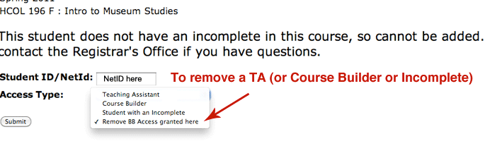 Arrow pointing to the selection for removing a TA.