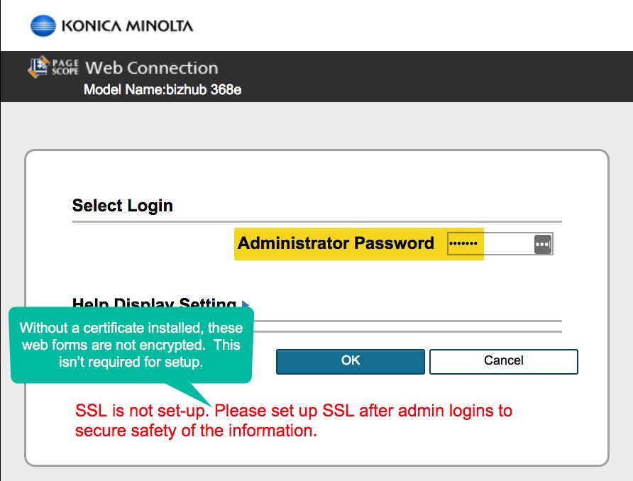 Konica Minolta Admin Password