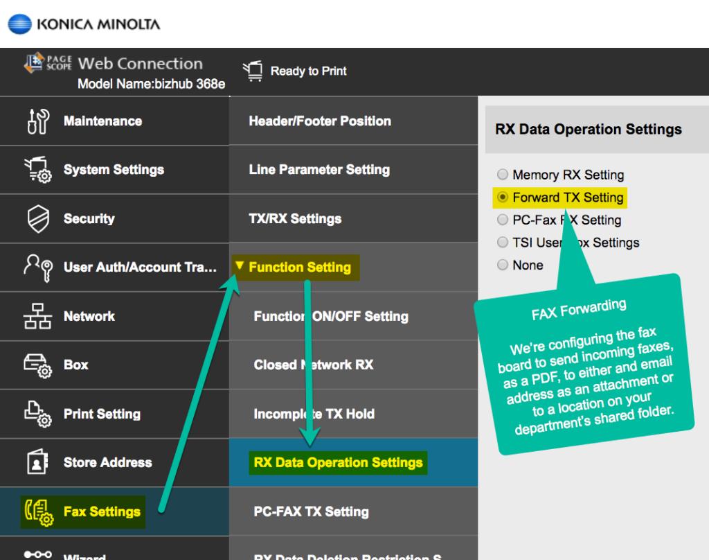 Konica Minolta Fax Forwarding