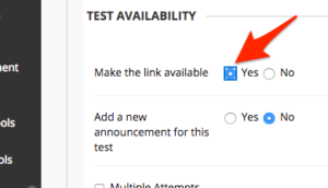 Arrow pointing to the option to make the test link available.