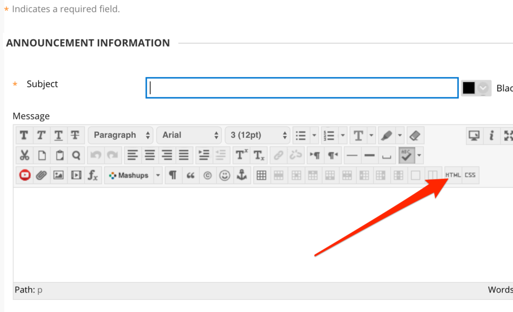 Arrow pointing to HTML button in the text editor.