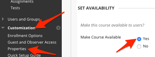 Arrows pointing to course availability settings.