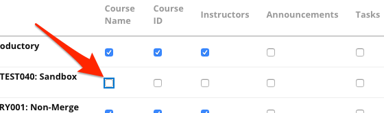 Arrow pointing to checkbox to change the visibility of a course.