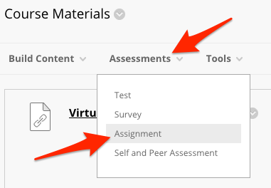 Arrows pointing to the assignment tool in the Assessments menu.