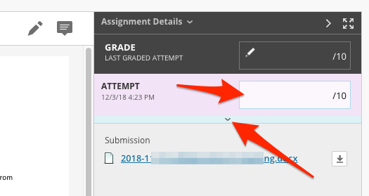 Arrows pointing to attempt and feedback options for grading an assignment.