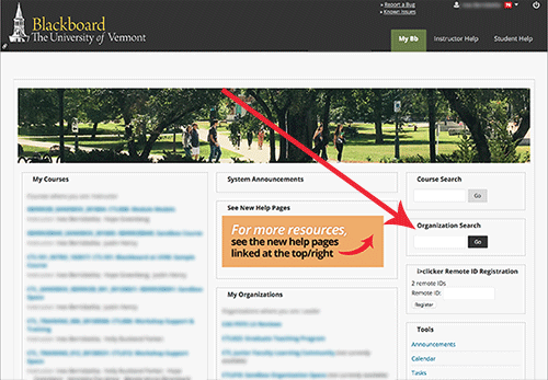 Arrow pointing to organization search box.