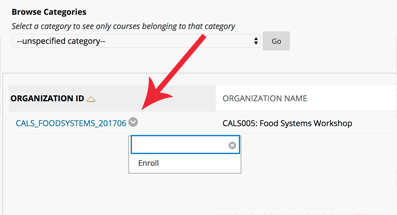 Arrow pointing to button to enroll.