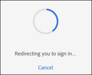 Picture of the Adobe Sign In window showing authentication redirection.