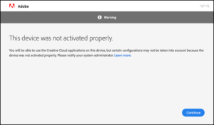 "Picture of the Adobe ID Sign In window showing the error message ""This device was not activated properly."""