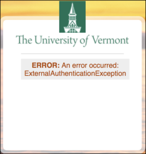 "Picture of the UVM Single Sign-On window showing the error message ""ExternalAuthenticationException"""