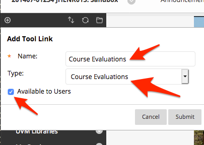 Add evaluations tool link.