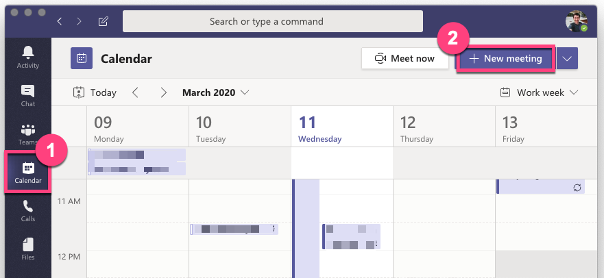 In the Teams application, select theCalendartab from the sidebar, then click theNew Meetingbutton