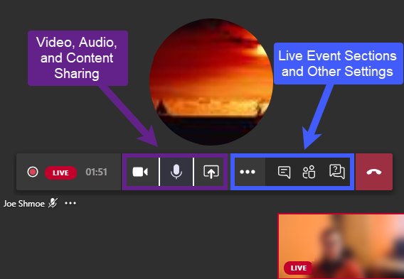 Presenter Interface with arrows to relevant sections