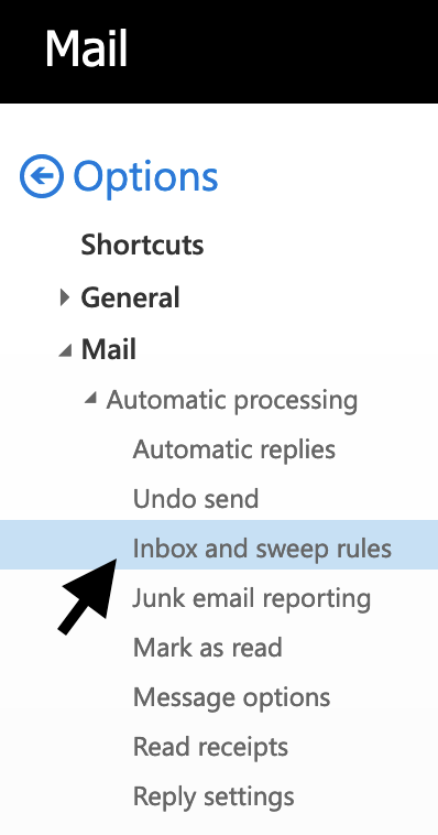 """User selects """"Inbox and Sweep Rules"""" in OWA."""