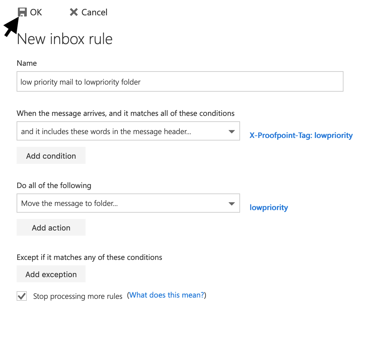 click OK in New Inbox Rule