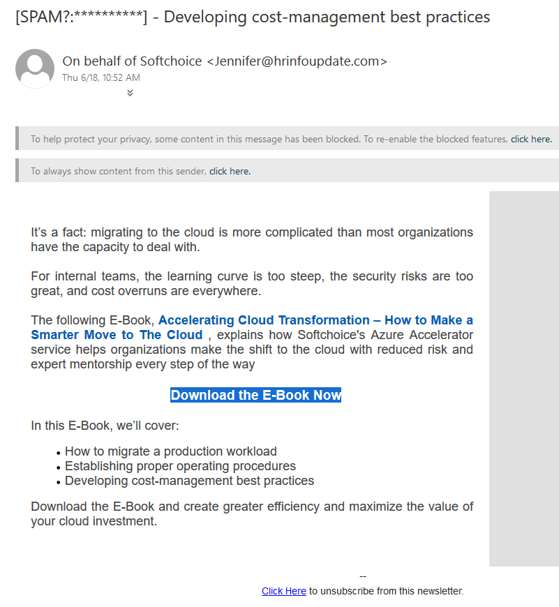 Unsolicited marketing email