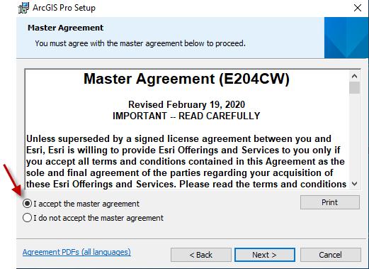ArcPro license agreement