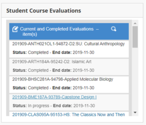 image of course evaluation status block from UVM Blackboard home page