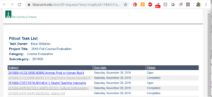 image of email link listing of UVM Blue course evaluations