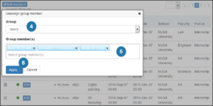 image of Blue DIG bulk course editing dialog with Apply button highlighted