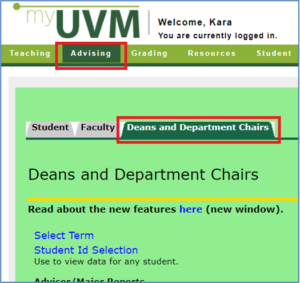 image of myUVM with the Advising and Deans and Department Chairs tabs highlighted