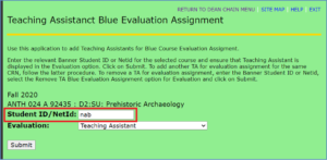 myUVM TA Evaluation assignment with student ID field highlighted