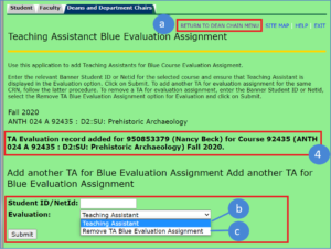 myUVM TA Blue Evaluation Assignment window with the Evalution drop down open
