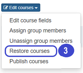 image of the Blue Dig Edit Courses menu open with Restore Courses selected