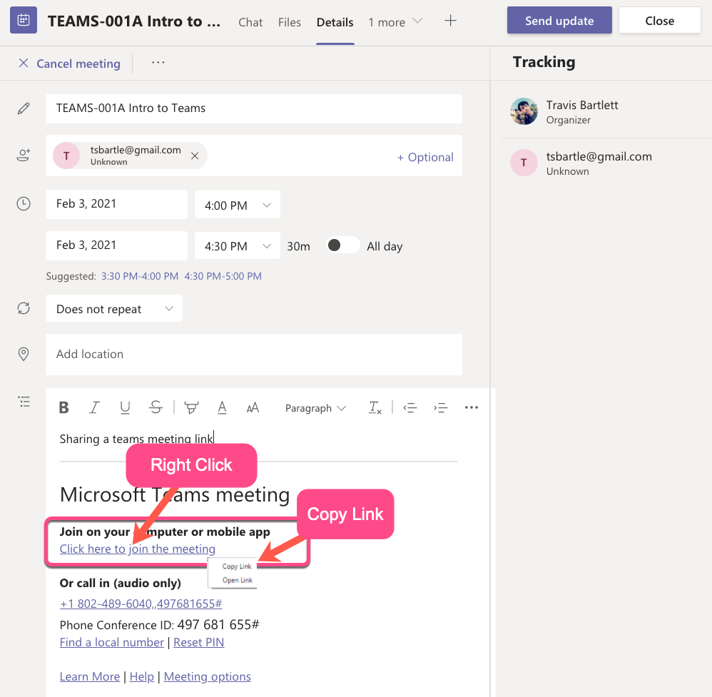 In the description field, there will now be aClick here to join the meetinglink. Right click on the link, then selectCopy Link.