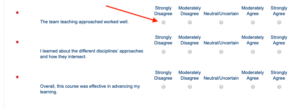 image of Blue survey Likert scale questions with scale highlighted